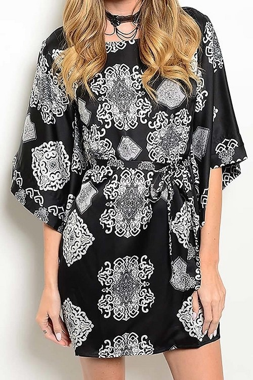 Smazy by Inance Geo Print Kimono Sleeve Dress
