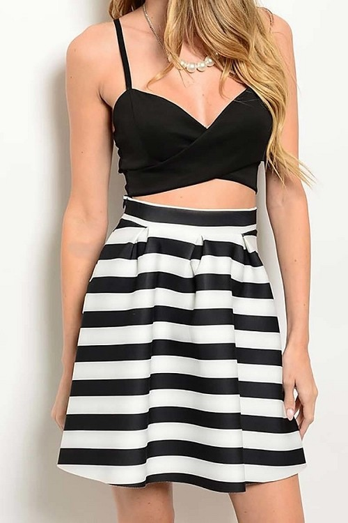 Smazy by Inance Top & Stripe  2 Piece Skirt Set