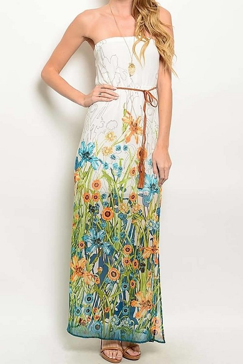 Smazy by Inance Flower Tie Waist Dress