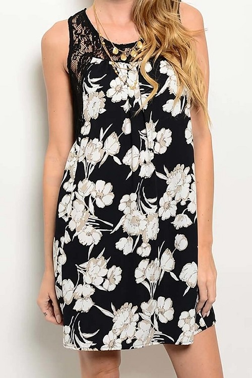 Smazy by Inance Floral Print Lace Trim Dress