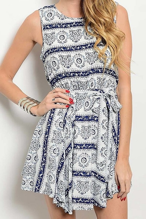 Smazy by Inance Print Sleeveless Tie Waist Dress - 2 Color Choices