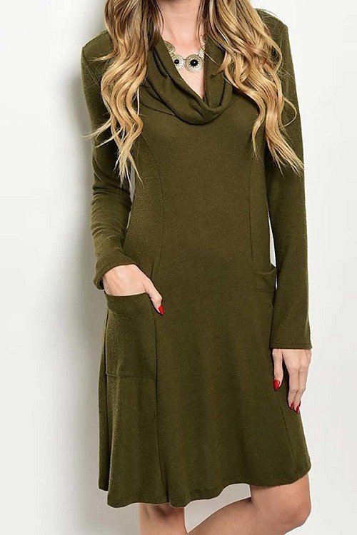 Smazy by Inance Cowl Neck Pocket Dress