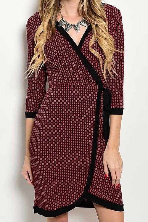 Smazy by Inance Contrast Trim Print Wrap Dress