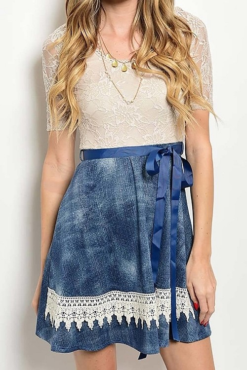 Smazy by Inance Denim Acid Wash Tie Waist Lace Accent Dress