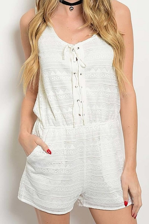 Smazy by Inance Sleeveless Tie Front Designer Lace Romper - 3 Color Choices