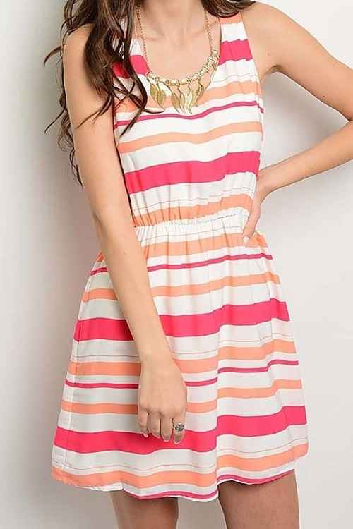 Smazy by Inance Striped Sleeveless Elastic Waist Dress