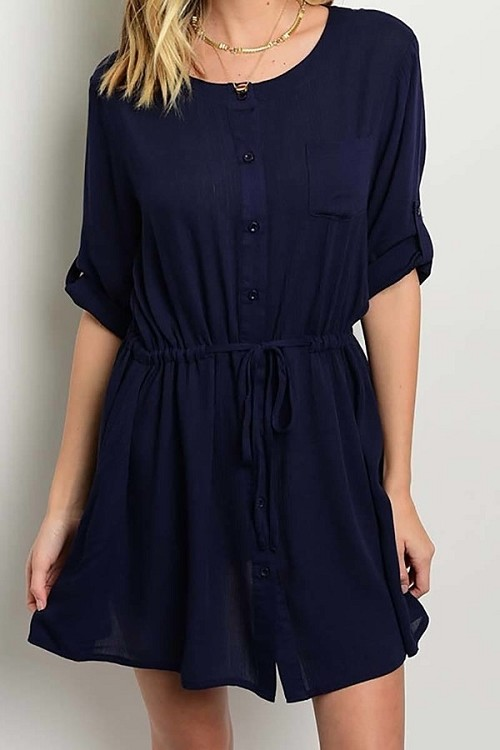 Smazy by Inance Drawstring Loose Fit Button Down Dress - 2 Color Choices