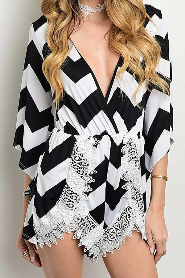 Smazy by Inance Lace Trim Chevron Print Romper