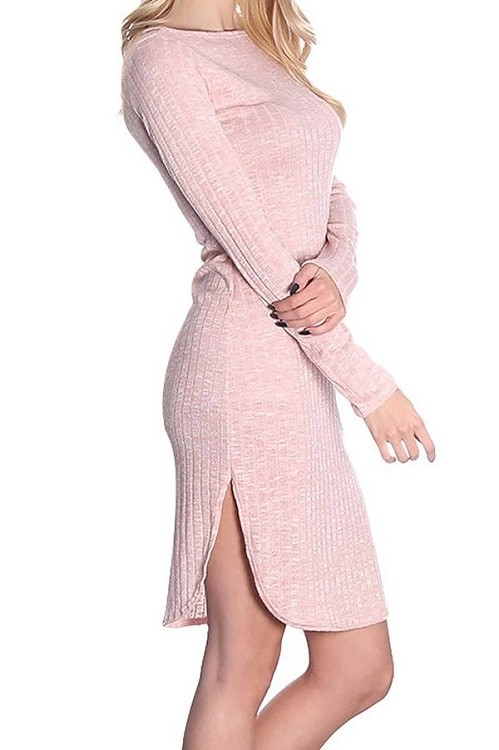 Smazy by Inance Bodycon Knit Side Slit Fitted Dress
