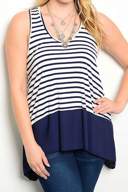 Smazy by Inance Curvy Plus Size Strip Sleeveless Top