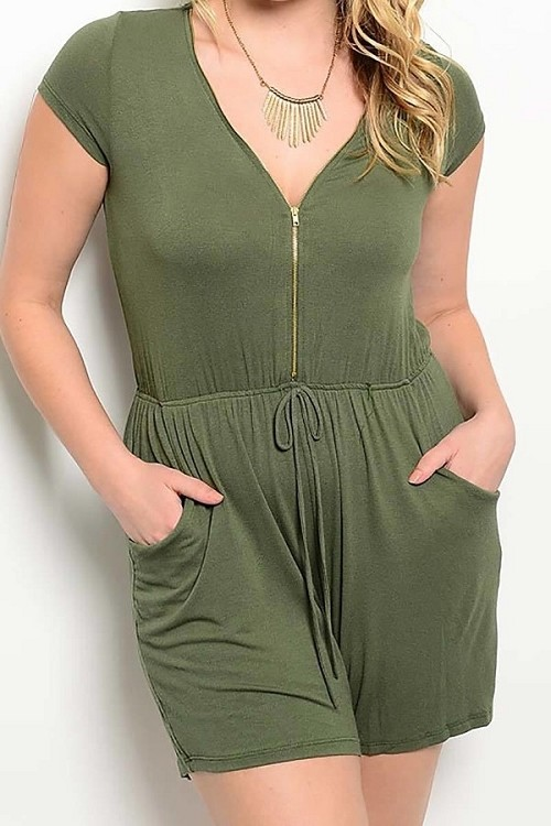 Smazy by Inance Plus Curvy Size Zipper Front Romper - 3 Color Choices