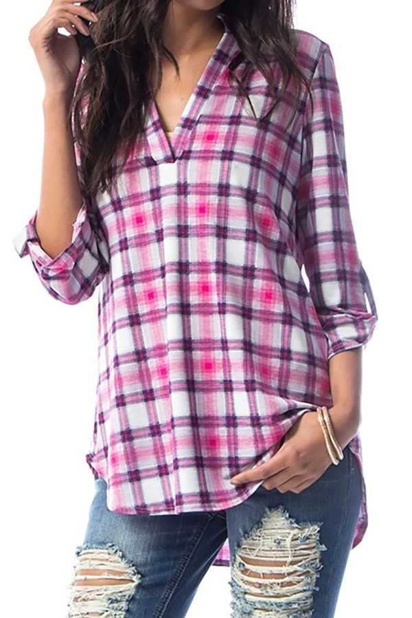 Smazy by Inance Plaid V-Neck Button Sleeve Collared Shirt - 2 Color Choices