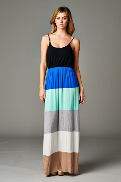 Inance Color Block Maxi Dress