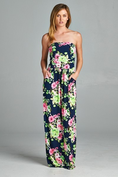 Inance Floral Printed Maxi Dress with Pockets - Comes in 2 Colors