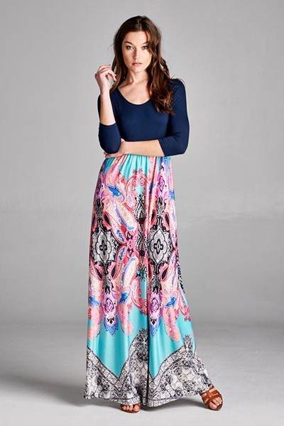 Inance Printed Design Flowey Maxi Dress