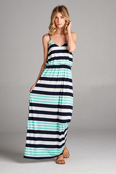 Inance Beautiful Striped Maxi Dress - Made In The USA