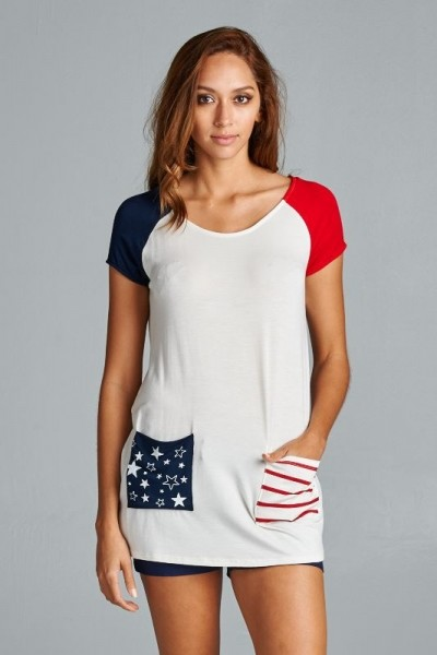 Inance Accidental Beauty Queen T-Shirt Top Stars and Stripes - Made In The USA