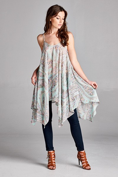 Inance Shoot for the Stars Paisley Top Soft Sky / Coconut - Made In The USA