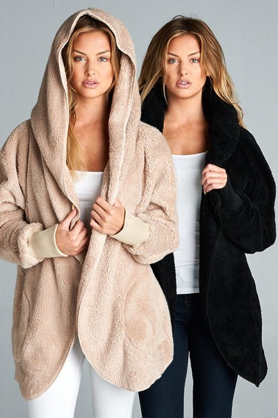 Inance Faux Fur Hoodie Cardigan Jacket with Pockets