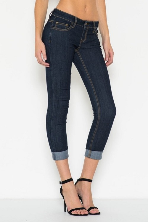 Inance Rolled Cuffed Skinny Jeans