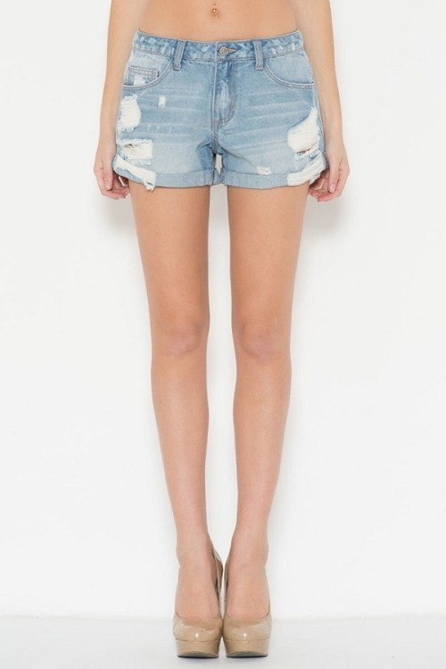 Inance Slim Fit Distressed Jean Shorts