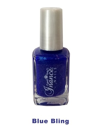 Inance Skincare Dynamic Chip Resistant Long Lasting Nail Polish, 5 Free of Chemicals, Blue Bling