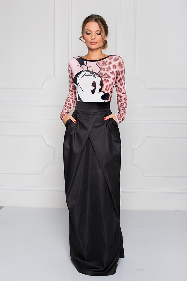 Disney + Sugarbird Designs Exclusive for Inance Basic Black Maxi Skirt