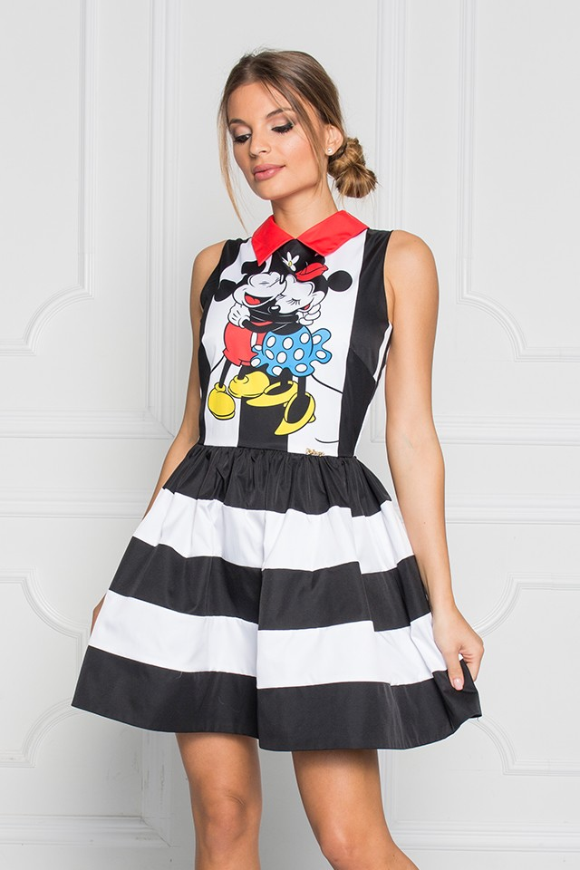 "Disney - Sugarbird Designs Exclusive for Inance Mickey & Minnie ""HUG"" Striped Baby Doll Dress"